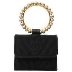 Buy Chanel Black Silk Satin CC Mark V Stitch Pearl Top Handle bag £3,890.00, Second Hand & Vintage Chanel Vintage Collection Top Handle Bags for Sale, 100% Authenticity Guaranteed, Worldwide Shipping
