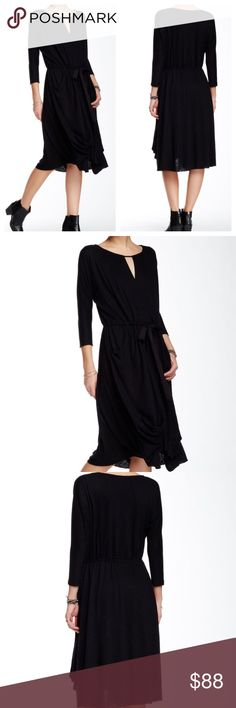 Free People Black Drop Waist Knit Dress: NWT Scoop neck Front wrapped panel with keyhole Dolman sleeves Side slip pockets Dropped drawstring waist Draped skirt Hidden back zipper closure Fully lined      Distressed -like.    MATERIAL CARE INSTRUCTIONS Shell: 55% Linen, 45% Polyester Lining: 100% Rayon Hand wash Free People Dresses Midi