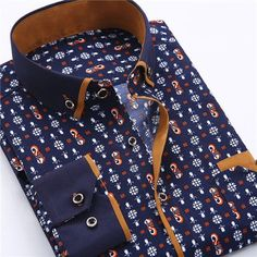 Men's Dress Shirt 2016 New Brand Fashion Style Slim Fit Lapel Long-sleeved Cotton Business Male Shirt Plus Size S-4XL N454