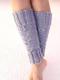 Grey OWL figure Knitted Leg Warmers Boot Cuffs by NesrinArt, $25.00