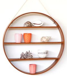 Large Oak Circle Shelf   Walnut Finish Design