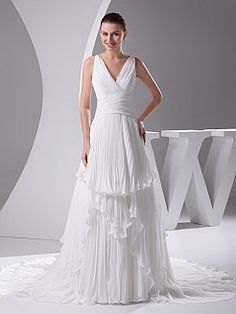 Deep V Neck A Line Chiffon Wedding Gown with Pleated Tiers - USD $175.99