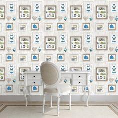 Muriva Live Laugh Love Wallpaper in Blue - 131502