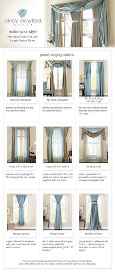 when i decided what curtains i want. have been in the house for over 10 years and still no curtains.LOL - Model Home Interior Design Curtain Styles, Curtain Designs, Drapery Styles, Hanging Curtains, Drapes Curtains, Valances, Curtain Panels, Scarf Curtains, Curtains Living