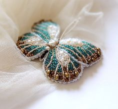 Turquoise ivory brown butterfly brooch bead embroidered by Eniya