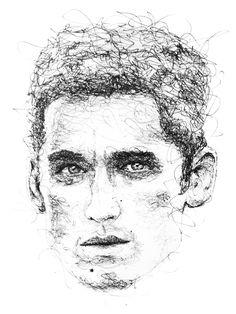 4e1512971a799 Gus Romano. Arte De RetratoRabiscosArte Da FormaDoodles. Scribble portrait  by Gus Romano. Sketch with black pen and ink.