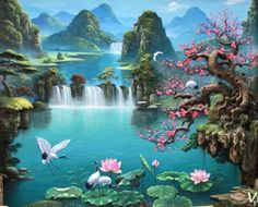 Beautiful Landscape Paintings, Chinese Landscape Painting, Fantasy Art Landscapes, Fantasy Paintings, Watercolor Landscape, Landscape Art, Pretty Pictures, Art Pictures, Kinkade Paintings