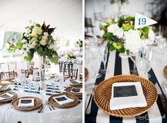 nautical wedding reception decor of navy stripes chalkboards wicker chargers and pennant table numbers