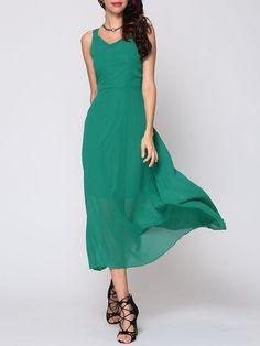 #Fashionmia - #Fashionmia Bohemian Plain Fascinating V Neck Maxi-dress - AdoreWe.com