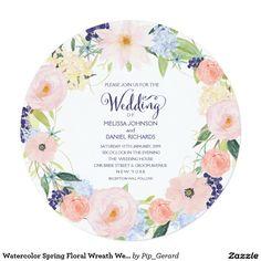 Watercolor Spring Floral Wreath Wedding Invitation