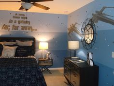 Very fun Star Wars room I painted for Atlanta designer Tanya McCulloch. Bedding…