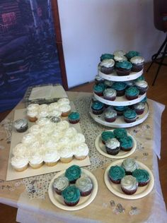 Wedding shower cupcakes teal and silver cuppiecake dress