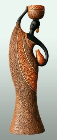 Woman C - Brown African American Tealight Holder Figurine
