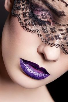 Cosmetics in various shades, styled and/or coordinates with the beautiful color Purple Purple Haze, Shades Of Purple, Lace Mask, Beautiful Mask, Beautiful Things, All Things Purple, Purple Stuff, Woman Face, Belle Photo