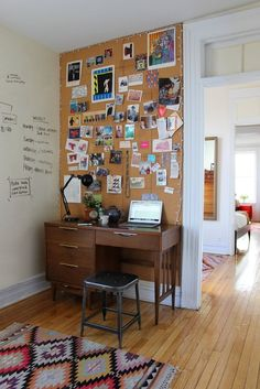 I want a desk and corner like this.  Alana's Brooklyn Railroad House Tour | Apartment Therapy