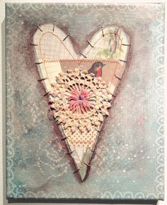 Vintage Valentines on Canvas- Mixed media Collage