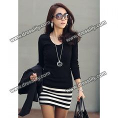 Ladylike Scoop Neck Stripes Skinny Long Sleeves Elegant Cotton Blend Women's Dress