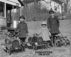 Children With Their Pedal Cars 1920s