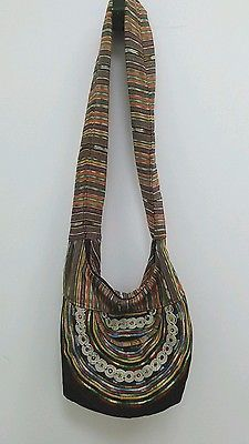 Guatemalan Multicolor Boho Hippie Shoulder Bag Purse Tote Crossbody Fabric B269