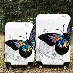 Luggage Suitcase, Travel Luggage, Butterfly Print, Butterfly Pattern, Trolley Case, Spinner Suitcase, Purses And Bags, Shells, Abs