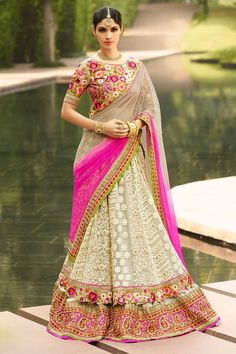 #AndaazFashion presents Cream Art Silk Lehenga Choli and Net Dupatta  http://www.andaazfashion.fr/womens/lehenga-choli/pakistani-bridal-lehenga-cream-art-silk-chaniya-choli-andaaz-fashion-dmv8509.html