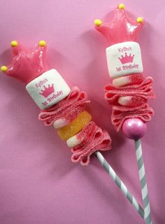 Personalized Candy Cabob childrens birthday party favor pink princess crown edible lollipop marshmallow via Etsy