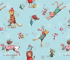 Christmas cats - soft blue fabric by designed_by_debby on Spoonflower - custom fabric  #holiday #girftwrap