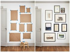 Gaines's Guide to Gallery Walls That Fit Your Home and Style Joanna Gaines Gallery Wall Ideas - Gallery Wall Frames, Art, and Layouts Gallery Wall Layout, Gallery Wall Frames, Wall Of Frames, Art Frames, Living Room Gallery Wall, Modern Gallery Wall, Frames Ideas, Wall Frame Layout, Wall Of Mirrors