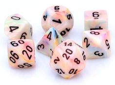 Festive Dice (Circus). The fun is just starting with Festive Dice Circus. This 7-piece RPG dice set has all your favorites: d4, d6, d8, d10, d%, d12, and d20.