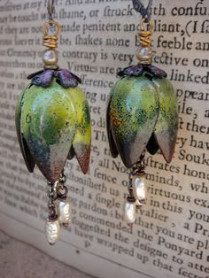 Copper Enameled Earrings Flower Pods by ontherocksjewelry on Etsy, $64.00