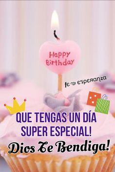 Tu vida siempre brillará de amor y felicidad,Felizzzzz  Cumpleaños. Happy Birthday Princess, Happy Birthday Wishes, Birthday Greetings, Everyday Prayers, Happy B Day, Holidays And Events, Love Heart, Birthday Candles, Birthdays
