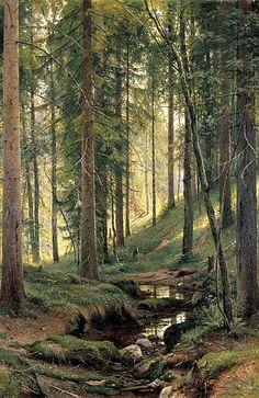 """Ruisseau forestier"" Ivan Chichkine (Ivan Shishkin) ==> https://fr.wikipedia.org/wiki/Ivan_Chichkine"