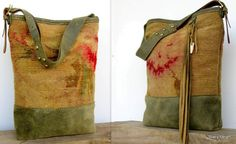 Rustic Modern Victorian Faded Carpetbag Tote by от stacyleigh