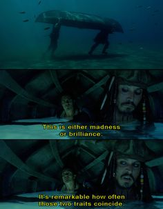 Pirates of the Caribbean. This scene is hilarious.