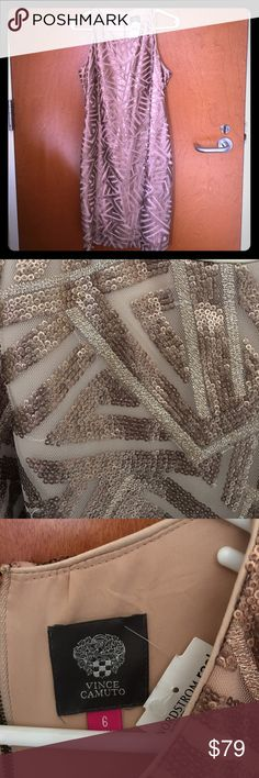 Vince Camuto Rose Gold Sequined Dress Beautiful dress!  Zippers halfway down back.  Rose Gold brand new with tags. Vince Camuto Dresses Maxi
