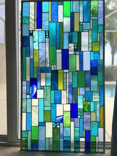 Sea Glass Custom Made Stained Glass Window Insert by stanfordglassshop on Etsy https://www.etsy.com/au/listing/271059573/sea-glass-custom-made-stained-glass