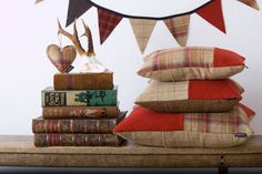 Couthie handmade tweed cushions and bunting in victory red and sandy beige.