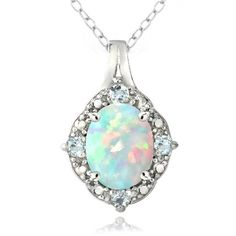 Glitzy Rocks Sterling Silver Diamond Accent Created White Opal and... ($30) ❤ liked on Polyvore featuring jewelry, necklaces, accessories, collane, blue, round pendant necklace, long necklace, opal necklace, sterling silver necklaces and blue topaz necklace