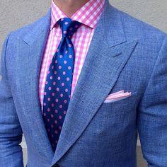 Light blue linen mix suit with Navy blue dotted silk tie - Men Suit