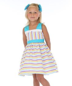 Look what I found on #zulily! Blue & White Stripe Bow-Back Dress - Toddler & Girls #zulilyfinds: