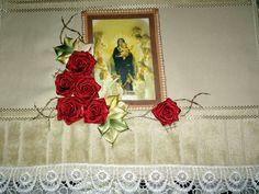 LOY HANDCRAFTS, TOWELS EMBROYDERED WITH SATIN RIBBON ROSES: NOSSA SENHORA DOS ANJOS