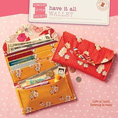 Wallet Pattern, Have It All Wallet by Straight Stitch Society, Checkbook Wallet Pattern, Coupon Wallet, Bill Fold Pattern