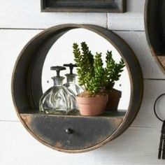 Metal Wall Mirror With Shelf and Drawer, Small