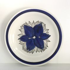 Rorstrand Pontus plate white with blue by VintageDesignTreats