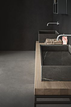 CRAFT bathroom collection by SnaideroUSA: essential forms define the design while natural materials (wood and stone) intersect with contemporary finishes (cement, glass, lacquer) to create beautiful contrasts. Modern Baths, Contemporary Bathrooms, Bathroom Spa, Bathroom Toilets, Bathroom Design Luxury, Bath Design, Bad Inspiration, Bathroom Inspiration, Bidet Wc