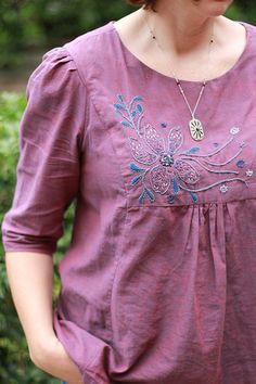 Anna Maria Horner's Painted Portrait blouse. Sewn using Kaffe Fassett shot cotton and embellished with embroidery 'Daylight Fading' from Anna Maria Horner's 'Needleworks Notebook'.  by Melanie  on | Flickr - Photo Sharing!