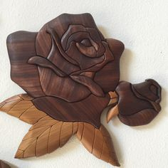 Intarsia Wood Rose plaque, Peruvian Walnut, one of a kind, unique by WoodFiberandGemArts on Etsy