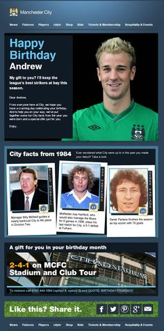 Best Emails in the Premier League - Manchester City Birthday Email