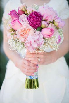 pink bridal bouquet by amy gallup #rainbowwedding #pinkflowers #weddingchicks http://www.weddingchicks.com/2013/12/19/festive-floral-wedding/