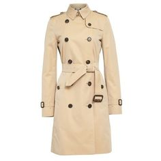 Women's Burberry London 'Kensington' Long Trench Coat ($1,895) ❤ liked on Polyvore featuring outerwear, coats, trench coat, double breasted belted coat, beige coat, checkered coat and long belted coat